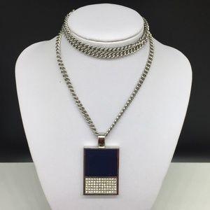 Ann Taylor Blue Enamel Rhinestone Pendant Necklace